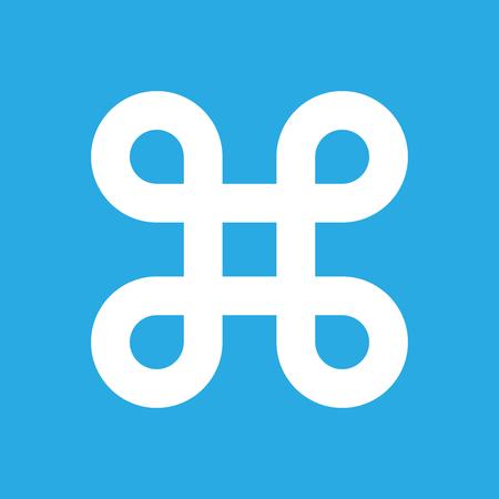 Bowen knot symbol for command key. Simple flat white illustration on blue background.