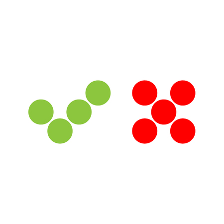 confirm: Check mark icons of dots. Green tick and red cross. Flat vector illustration isolated on white background.
