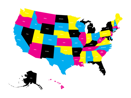 Political map of USA, United States of America, in CMYK colors with white state name labels on white background. Vector illustration.