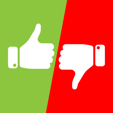 Vote thumbs up icon in red and green fields. Make a choice, yes or no, love it or hate it, like or dislike win or loss. Vector illustration.