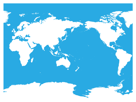 Australia and Pacific Ocean centered world map. High detail white silhouette on blue background. Vector illustration.