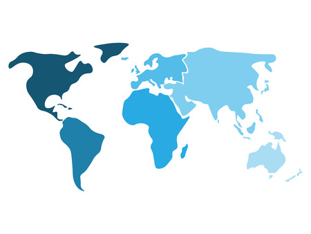 Multicolored world map divided to six continents in different multicolored world map divided to six continents in different shaders of blue north america gumiabroncs Choice Image