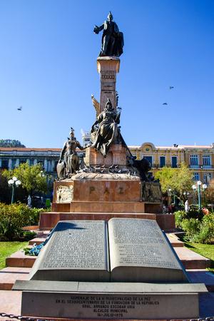 murillo: Pedro Domingo Murillo statue, Plaza Murillo, La Paz, Bolivia, South America