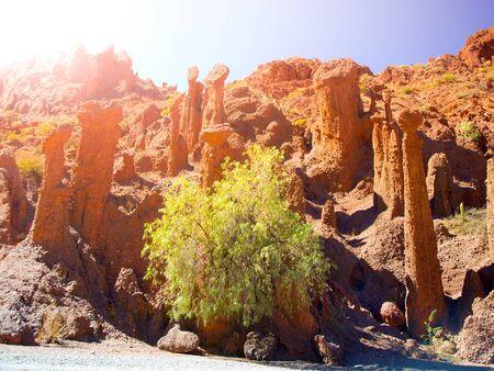 Phallic shape red rock formations in Valle de los Machos - Quebrada de Palmira near Tupiza, Bolivian Andes, South America.