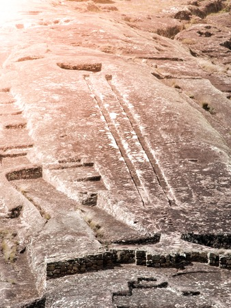 El Fuerte de Samaipata. Close-up view of mystical rock carvings in Pre-Columbian archaeological site, Bolivia, South America. UNESCO World Heritage Site. Stock Photo