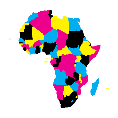 Political map of Africa continent in CMYK colors on white background. Vector illustration.