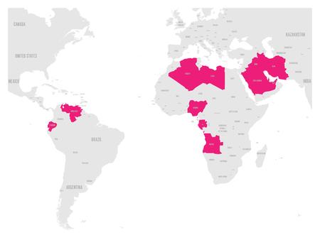 bandera de venezuela: OPEP, Organización de Países Exportadores de Petróleo. Mapa mundial con estados miembros destacados rosa desde 2017. Ilustración vectorial.