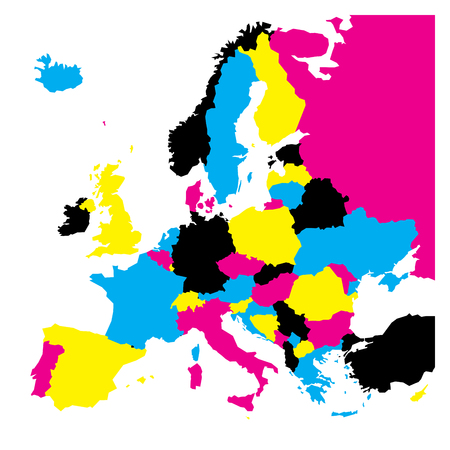 Political map of Europe continent in CMYK colors isolated on white background. Vector illustration.