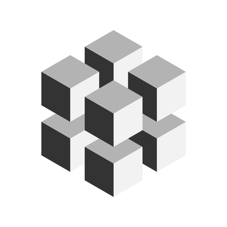 Grey geometric cube of 8 smaller isometric cubes. Abstract design element. Science or construction concept. 3D vector object. Illustration