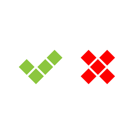 checked: Check mark icons of squares. Green tick and red cross. Flat vector illustration isolated on white background.