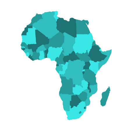 Political map of Africa in four shades of turquoise blue on white background. Vector illustration.
