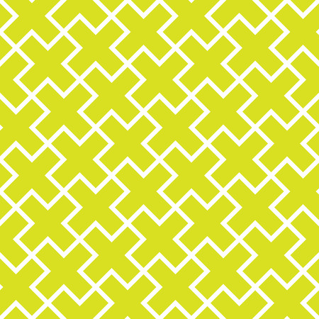 Abstract seamless pattern background. Mosaic of green geometric crosses with white outline. Vector illustration.