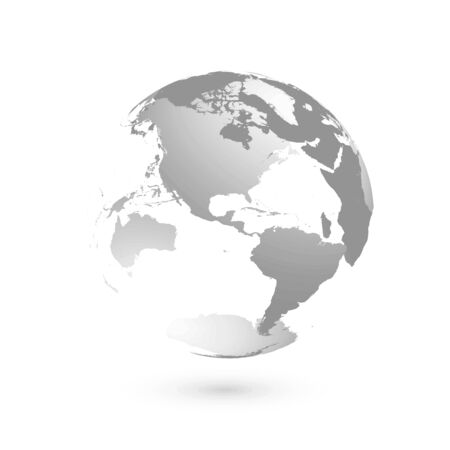 3 D 地球地球。灰色の土地シルエットと透明な球体アメリカに焦点を当てた。
