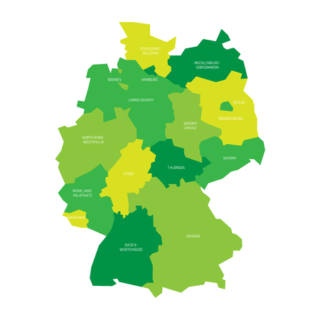 83013090 map of germany devided to 13 federal states and 3 city states berlin bremen and hamburg europe simple flat vector map in shades of green