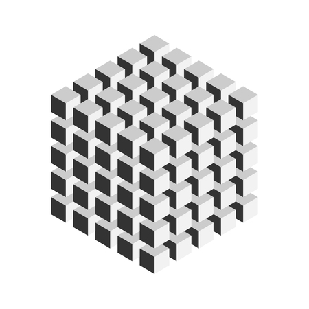 Grey geometric cube of 125 smaller isometric cubes. Abstract design element. Science or construction concept. 3D vector object. Illustration