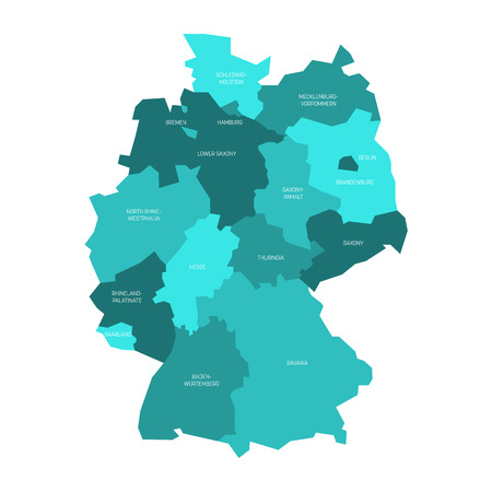 bundes: Map of Germany devided to 13 federal states and 3 city-states - Berlin, Bremen and Hamburg, Europe. Simple flat vector map in shades of turquoise blue. Illustration