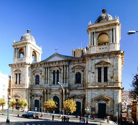 murillo: La Paz Metropolitan Cathedral on Plaza Murillo on sunny day with blue sky, La Paz, Bolivia. Stock Photo