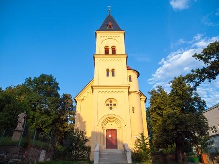 windows and doors: Church of St. Prokop in Branik, Prague, Czech Republic Stock Photo