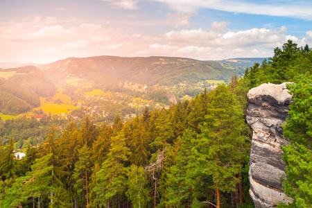 Viewpoint aboce Jizera valley in sandstone landscape of Bohemian Paradise, Besedice Rocks, Czech Republic.