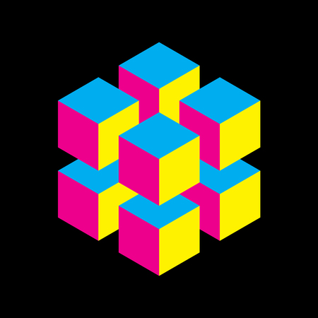Geometric cube of 8 smaller isometric cubes in CMYK colors. Abstract design element. Science or construction concept. 3D vector object.