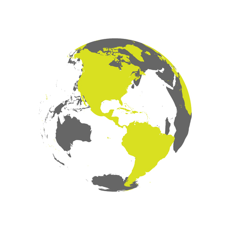 Earth globe with green world map. Focused on Americas. Flat vector illustration.