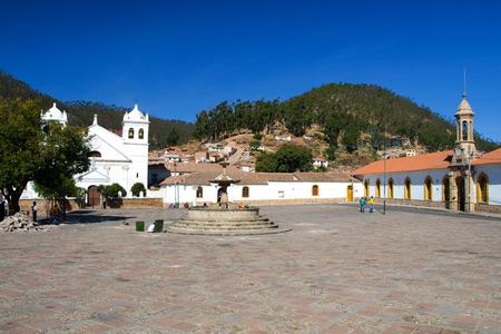 bolivian: White colonial houses of La Recoleta at Plaza Pedro de Anzures square, Sucre, Bolivia South America.