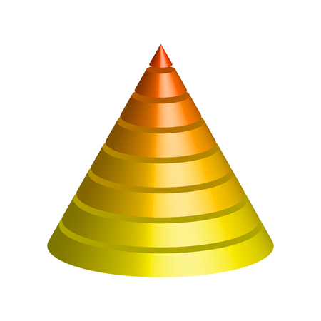 Layered cone. 3D conical pyramid of 8 multicolored layers. Vector illustration.