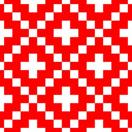 punto de cruz: Pixel style vector seamless pattern. Adornos rojos sobre fondo blanco. Muestra de tela de estilo nórdico.