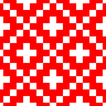 Pixel style vector seamless pattern. Red ornaments on white background. Nordic style fabric swatch.