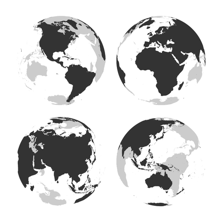 Set of transparent Earth globes with grey land silhouette map. Vector illustration.