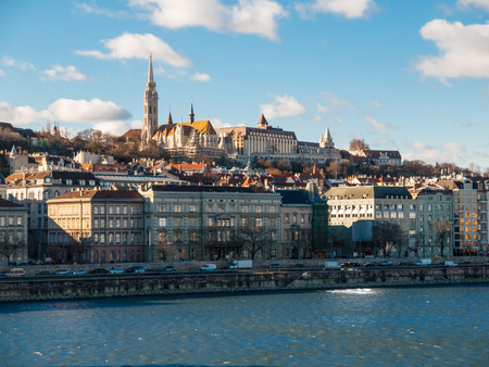 St. Matthias church and Fishermens Bastion. View from Danube River. Budapest, Hungary.