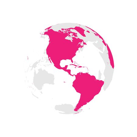 Earth globe with pink world map. Focused on Americas. Flat vector illustration.