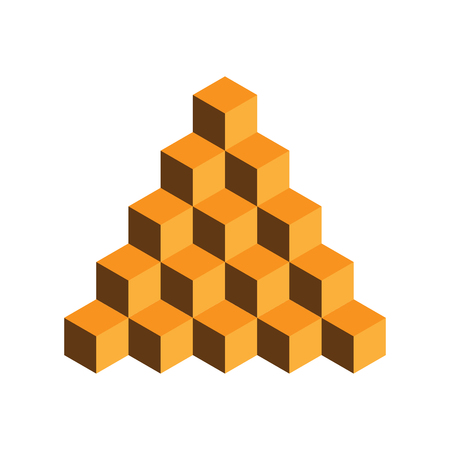 web site design template: Pyramid of gold cubes. 3D vector illustration isolated on white background.