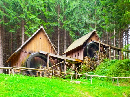 water mill: Gold ore mills. Medieval wooden water mills in Zlate Hory, Czech Republic. Stock Photo