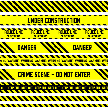 Set of tapes used by police for restriction and danger zones. Yellow and black stripes.