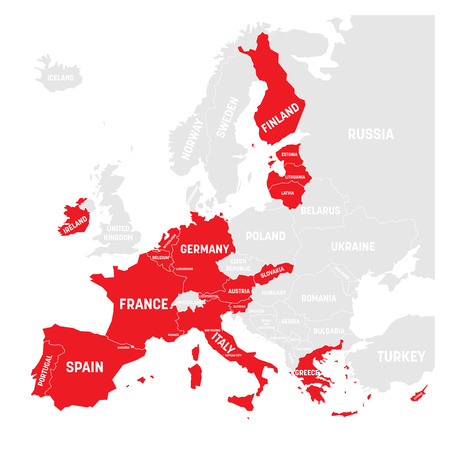 Map of Eurozone. States using Euro currency. Grey vector map with red highlighted member countries.