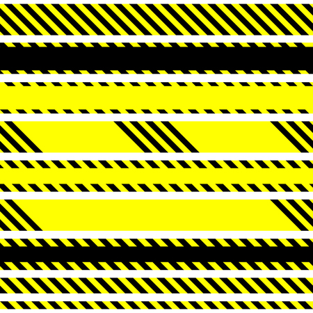 cordon: Set of vector seamless tapes used by police for restriction and danger zones. Yellow and black stripes.