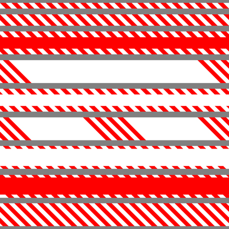 Set of vector seamless tapes used for restriction and danger zones. Red and white stripes. Illustration