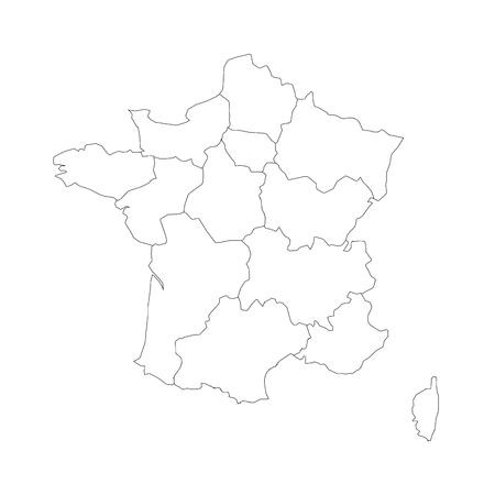 Overzichtskaart van Frankrijk verdeeld in 13 administratieve metropolitaanse regio's, sinds 2016. Vier tinten groen. Vector illustratie.