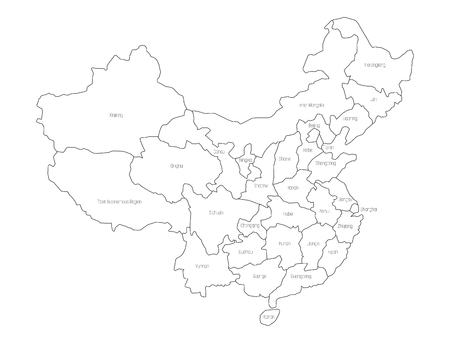 Regional map of administrative provinces of China. Thin black outline on white background. Vector illustration.