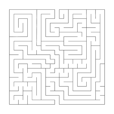 Square maze labyrinth. Black thin outline. Vector illustration