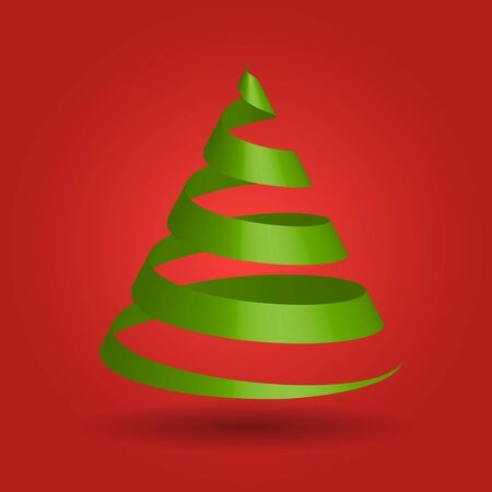 Green glossy ribbon in a shape of Christmas tree.