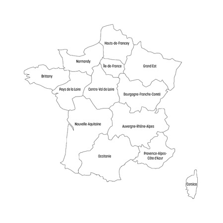 Outline map of France divided into 13 administrative metropolitan regions, since 2016. Four shades of green. Vector illustration.
