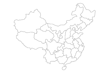 Regional map of administrative provinces of China. Thin black outline on white background. Vector illustration. Imagens - 87048761