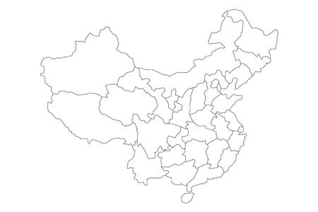 Regionale kaart van administratieve provincies van China. Dun zwart overzicht op witte achtergrond. Vector illustratie.