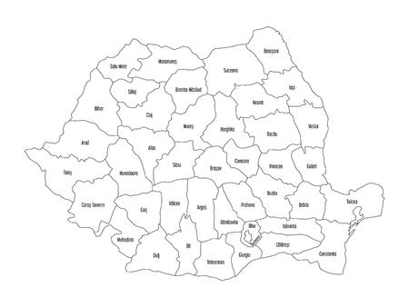 Administratieve provincies van Roemenië. Vectorkaart van dun zwart overzicht op witte achtergrond. Vector Illustratie