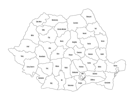 Administrative counties of Romania. Vector map of thin black outline on white background.