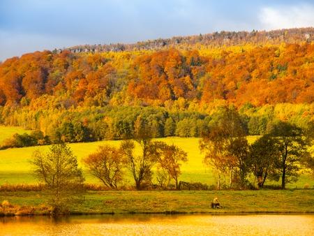 czech switzerland: Autumnal landscape with colorful trees. Czech-Saxon Switzerland, Czech Republic.