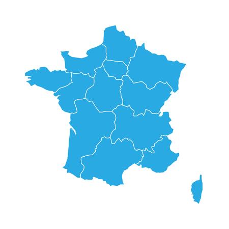 Blue map of France divided into 13 administrative metropolitan regions, since 2016. Vector illustration. Illustration