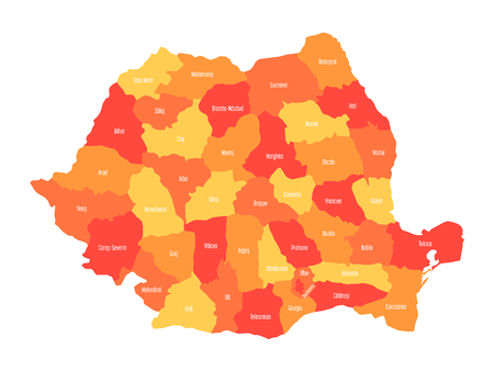 Administrative counties of Romania. Vector map in four shades of orange.